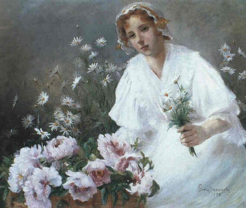 a girl in white picking daisies by grete brzezowsky