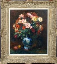vase garni de fleurs by alfred théodore joseph bastien