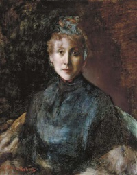portrait of a lady in a blue dress by paul robert