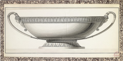 design for a dish chased with foliage and with grecian masks at the handles by jean guillaume moitte
