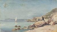 pêcheur sur les rochers by louis nattero