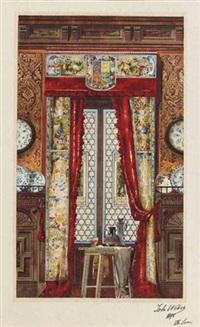 vue d'un intérieur avec une grande fenêtre (+ vue d'un intérieur avec cheminée; 2 works) by johannes weber