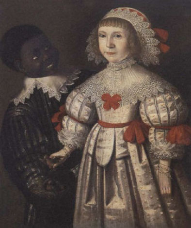 portrait of a young girl with her servant by gilbert jackson