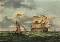 a three-decker under sail by thomas higgs