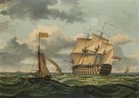 a three-decker under sail by thomas higgs