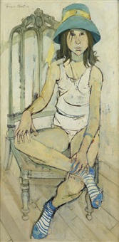 jeune fille au chapeau vert assise surune chaise by françoise adnet