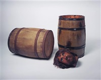 still life (barrels, head) by sam durant