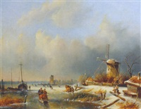 a frozen waterway with skaters near a windmill, a village in the distance by j.c. corver