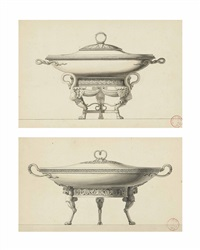 an empire style vegetable dish and cover on three paw feet with attaches with a swan's neck (+ an empire style vegetable dish and cover on three paw feet with attaches with a lion's head; pair) by henri auguste