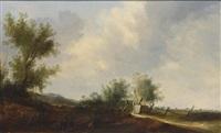 a dune landscape with travellers resting near a farmhouse by cornelis simonsz van der schalcke