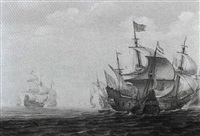 a naval skirmish with a three master sinking a galley in  calm seas by justus verwer