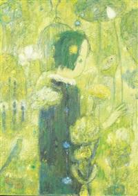 jeune fille dans un jardin fleuri by jia juanli
