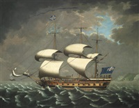 a 6th rate of the royal navy bearing away from the west african coast in blustery weather, the natives seen on the quarterdeck probably rescued from the wrecked slaver shown aground on the receding shoreline by william (of liverpool) jackson