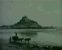 seaweed gatherers before st. michael's mount by fritz b. althaus