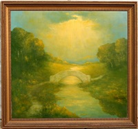 landscape with bridge by robertson k. mygatt