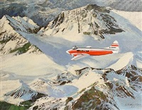 aeroplane over snow capped mountains by keith shackleton
