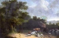 troupeau près d'une cascade by henri-joseph antonissen