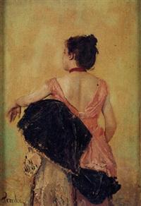 mujer de espaldas apoyada en un sillón by federico pereda
