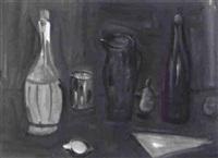 stilleben mit flaschen, krug, glas und früchten by alexandre rochat