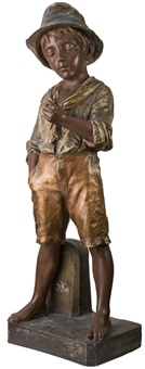 terracotta figure of a boy by goldscheider (co.)