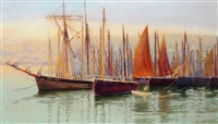 the fishing fleet, st. ives by john mallord bromley