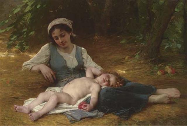 jeune mère et enfant endormi by leon jean basile perrault