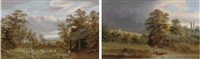 the home close, ashchurch (+ thunder storm clearing off, near worcester; pair) by henry w. henley