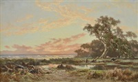 sunset on westernport shore by james waltham curtis