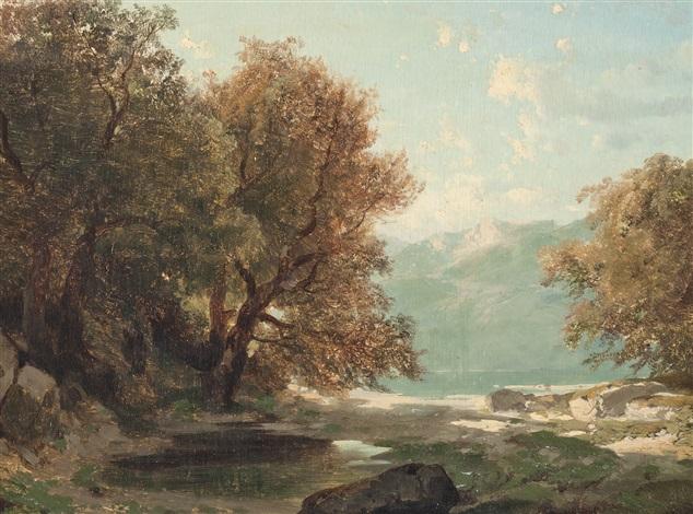 paysage au bord du lac by alexandre calame