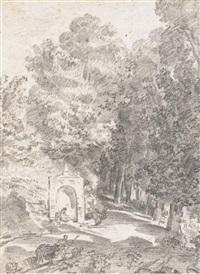 un paysage boisé avec un berger et son troupeau sur un chemin, une figure devant une fontaine à gauche by pierre-charles le mettay