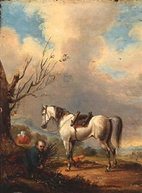 landscape with a white horse and firewood collectors by francis calcraft turner