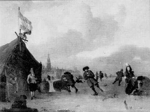 figures skating on ice near a dutch town by robert van den hoecke