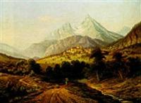 blick auf berchtesgaden mit dem watzmann by hermann kraemer