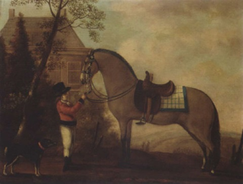 a horse and groom before a country house by a van den peereboom
