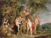 a bacchanal in a wooded river landscape by victor wolfvoet the younger