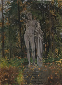 statue of hermes in a garden by evgeniy ivanovich stolitsa