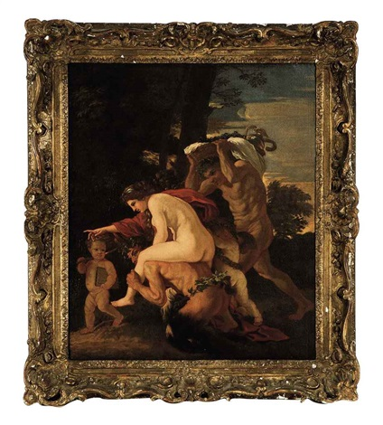 satyr carrying a nymph on his back with putti and a faun in an arcadian landscape by nicolas poussin