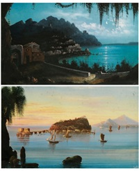 vue de la côte amalfitaine (2 works) by augusto corelli