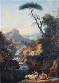paysage italien avec une cascade, animé de bergers et de leur troupeau de moutons by luigi domenico soldini