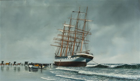 the ship county of edinburgh stranded on a beach by antonio jacobsen