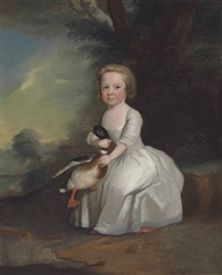 portrait of a young girl, full length, in a white dress, holding a mallard, in a wooded landscape by henry pickering