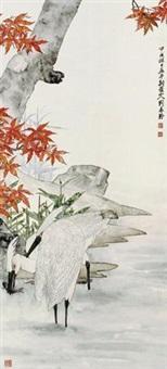 枫叶双鹤图 by liu kuiling