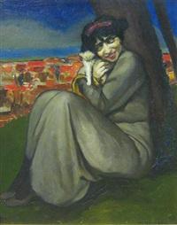 femme assise contre un arbre by ernest marneffe
