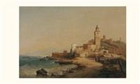 vue d'un petit port by nicolas-victor fonville