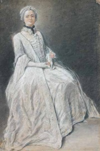 portrait d'une femme assise by louis aubert