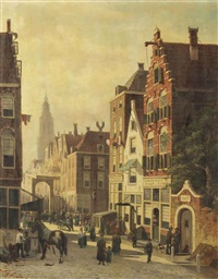 a busy sunlit street with a view of the martinitoren, groningen by john frederik hulk the younger