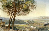 florence from the hill of bellesguardo, fiesole by john wharlton bunney