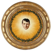 the head of napolean surrounded by a laurel wreath in a sunburst by laurent dabos
