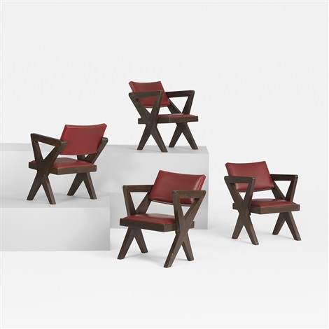 set of four armchairs from chandigarh set of 4 by pierre jeanneret