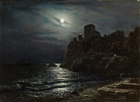 moonlit coast with a castle by lev felixovich lagorio